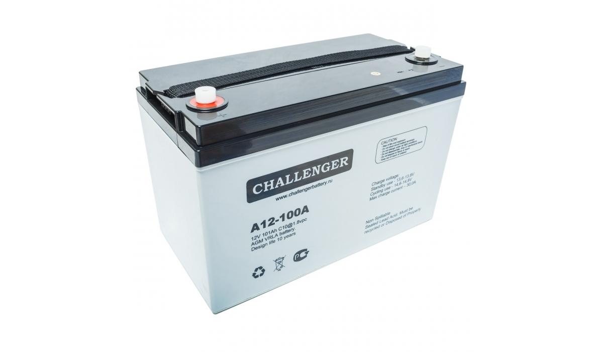 A12-100A (Challenger), 12В, 100А*ч, AGM Аккумуляторная батарея