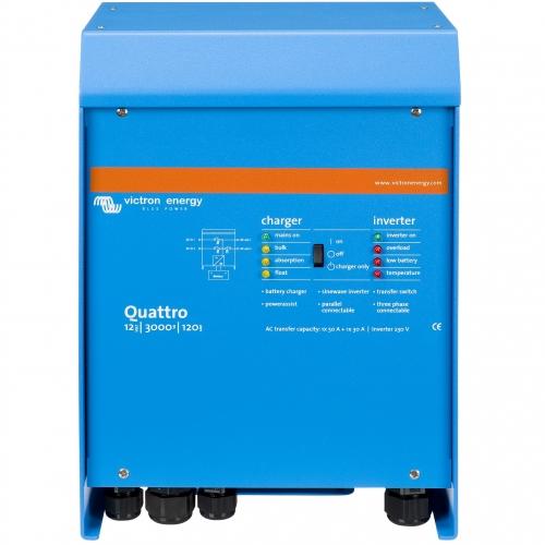 Quattro 12/3000/120-50/50  (Victron Energy), 12В, 3000ВА, 120А, 2 входа 50А, Инвертор с зарядным устройством