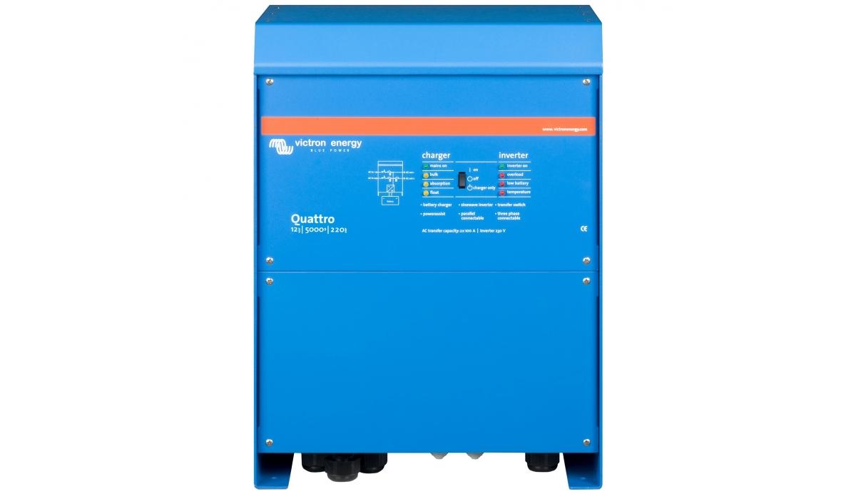Quattro 12/5000/220-100/100  (Victron Energy), 12В, 5000ВА, З/У 120А, 2 входа 100А Инвертор с зарядным устройством