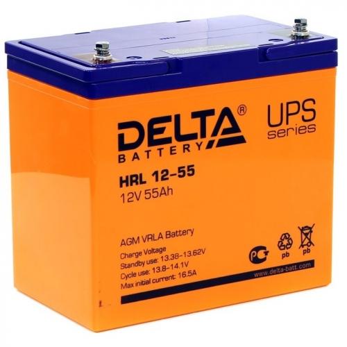 Аккумулятор Delta HRL 12-55 (12В, 55 А*ч, AGM)