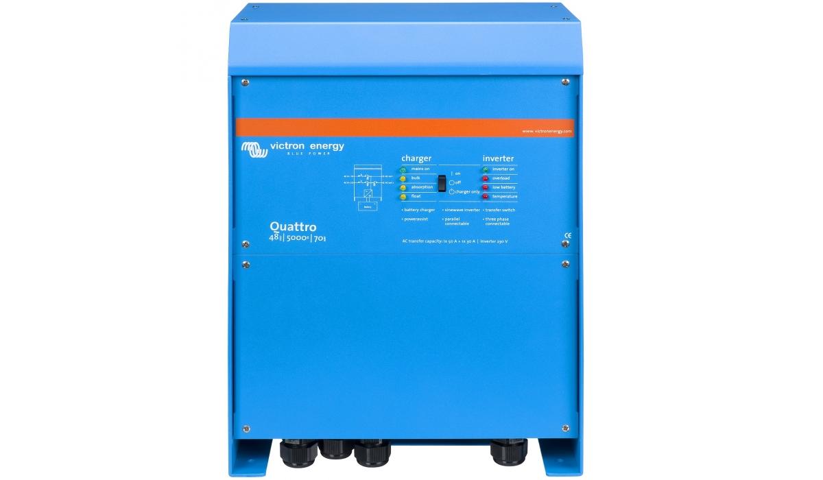 Quattro 48/5000/70-100/100 (Victron Energy), 48В, 5000ВА, З/У 70А, 2 входа 100А Инвертор с зарядным устройством