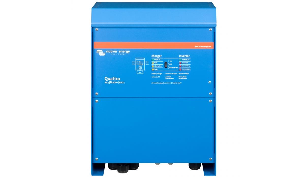 Quattro 24/8000/200-100/100 (Victron Energy), 24В, 8000ВА, З/У 200А, 2 входа 100А Инвертор с зарядным устройством