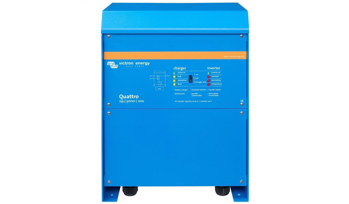 Quattro 24/5000/120-100/100 (Victron Energy), 24В, 5000ВА, З/У 120А, 2 входа 100А Инвертор с зарядным устройством