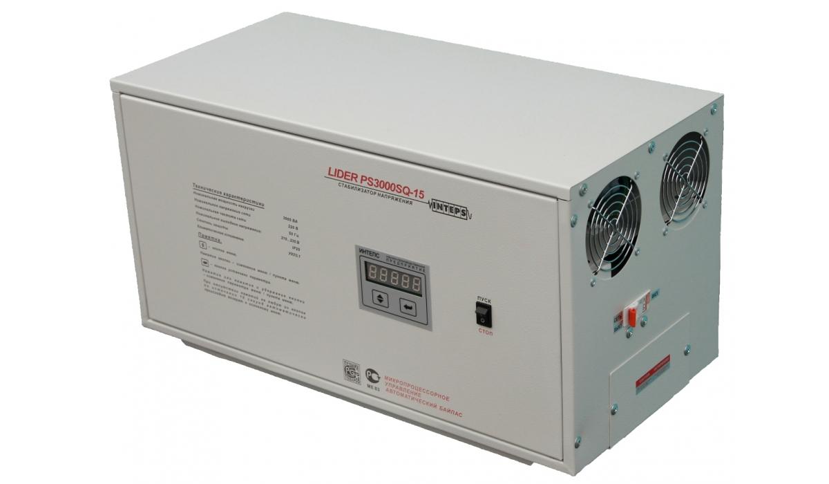Стабилизатор напряжения Lider PS10000SQ-15, (ИНТЕПС), 10кВа, 155-275В, 1фаза, 0,9%