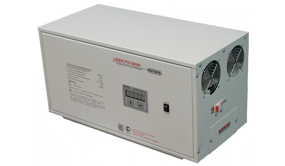 Стабилизатор напряжения Lider PS7500W-50, (ИНТЕПС) 7,5кВа, 110-320В, 1фаза, 4,5%